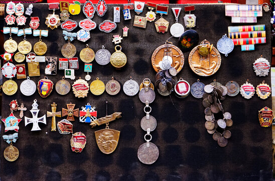 View Of Badges Hanging On Wall