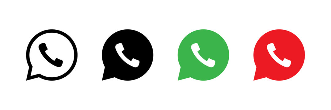 Phone icon. Chat bubble icon. Vector isolated elements. Black, green, red button in the smart phone. Stock vector. EPS 10