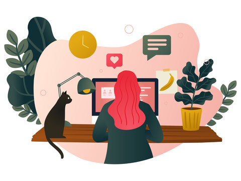 Working from home - A woman working at her desk at home with a cat and plants. Modern vector illustration concept of the home office.