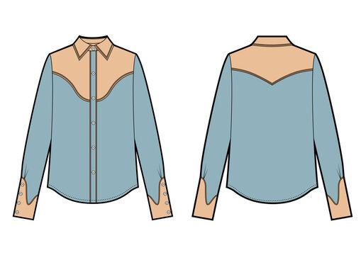 Long sleeve cowboy shirt, fashion flat sketch template