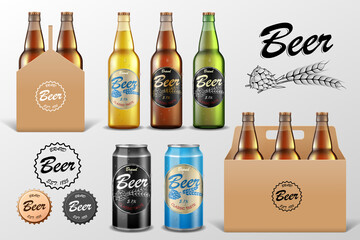 Realistic set of glass Beer bottle in packaging box on transparent background. Beer template and Tin Can Mockup for restaurant or Bar Branding. Vector illustration.