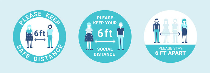 Modern labels about social distancing for stop infection. COVID-19 icons in green color. People practice social distancing, keeping 6 feet / 2 meters apart. Safety recommendations Wall mural
