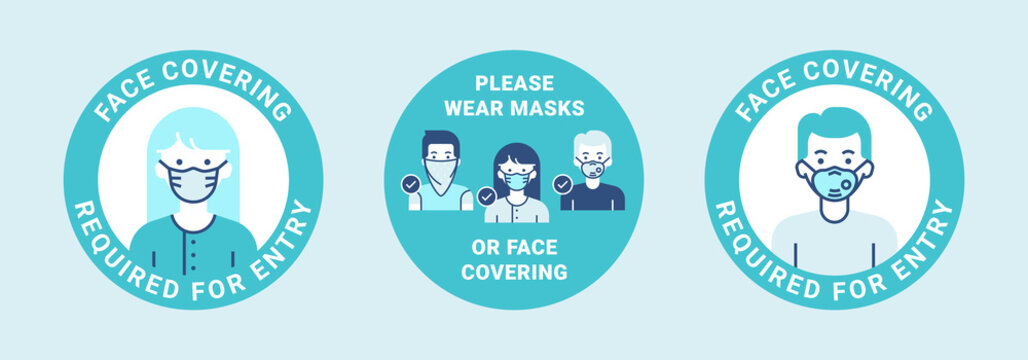 Door label design. Modern icons with man and woman wearing masks for stop pandemic. Face covering required for entry. Please wear masks or face covering