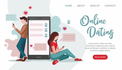 Online Dating service. Male and female chatting on the Internet. Virtual relationships concept.