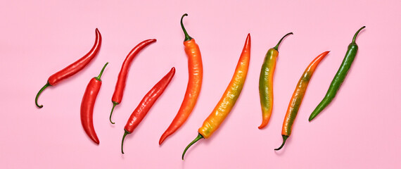 Chili pepper fresh organic on pink. Vegan veggies diet food. Various hot red chili pepper, spicy cooking concept, top view. Creative composition, cayenne pepper background