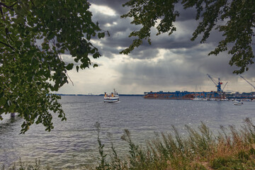 Ship in the fjord of Kiel, Germany