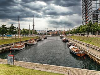 Germaniahafen old vintage harbor in Kiel, Germany