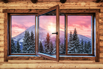 modern quality window and beautiful mountain landscape