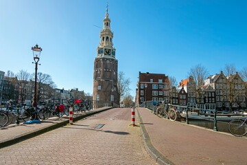 City scenic from Amsterdam with the Montelbaan tower in the Netherlands