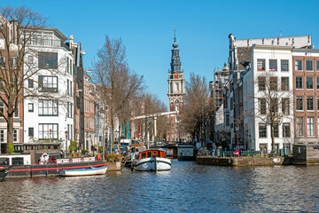 City scenic from Amsterdam with the South church in the Netherlands
