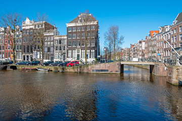 City scenic from Amsterdam at the Singel in the Netherlands