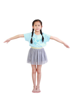 Asian little kid girl with pigtail hair standing and open wide arms isolated on white background. Full length