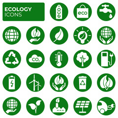 Ecology icons set. Environment protection. Alternative renewable energy. Global warming. Decarbonation. Eco friendly flat linear sign collection. Vector symbols, icon
