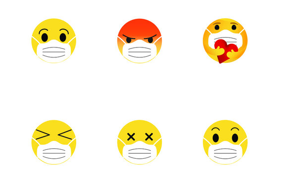 Emoticons wearing protective face masks different expressions laugh, smile, worry, angry, care, sad, Covid-19 protection vector illustration isolated emojis