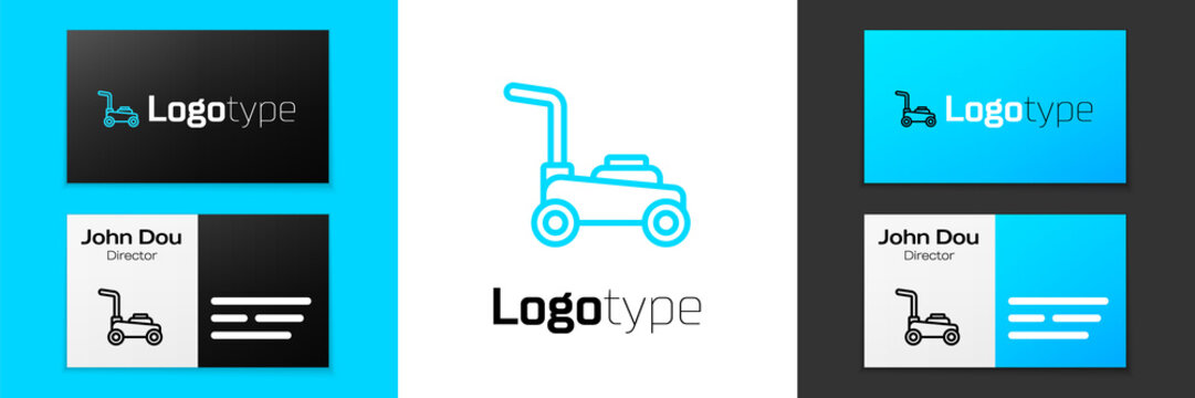 Blue line Lawn mower icon isolated on white background. Lawn mower cutting grass. Logo design template element. Vector.