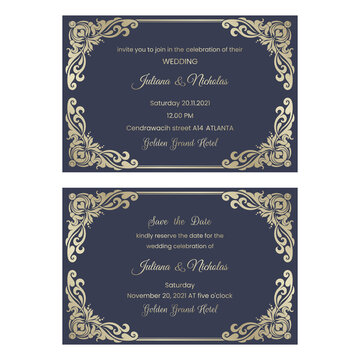 """Wedding  Invitation and save the date card  with baroque pattern blue and gold color.  Beautiful Victorian ornament. Frame with floral elements. Vector illustration.  Size: 6"""" x 4""""."""