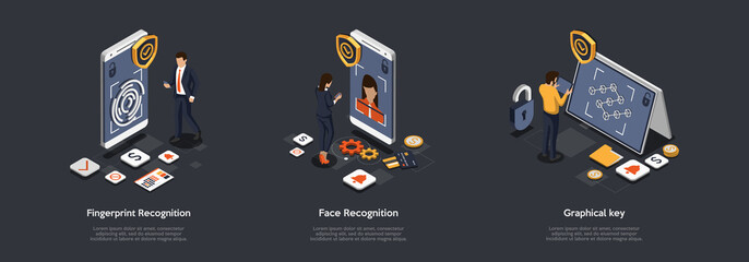 Fototapeta Cyber Security Of Mobile And Computer Network Concept. Men And Women Set Protection On Gadgets In Form Of Fingerprint Protection, Face Recognition And Graphical Key. Isometric 3d Vector Illustration