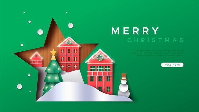 Christmas web template papercut winter city