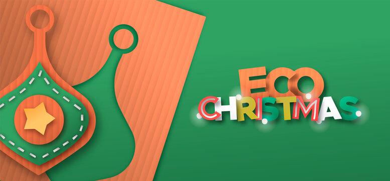 Eco christmas paper cut ornament decoration banner