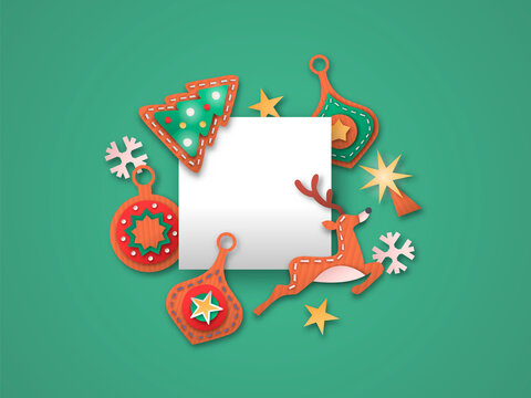 Christmas card paper cut decoration template frame