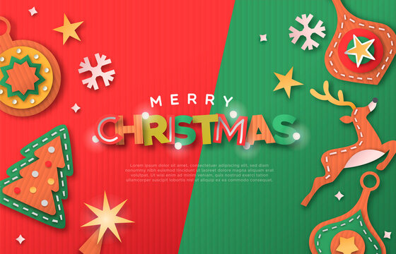 Christmas web template paper cut decoration icons