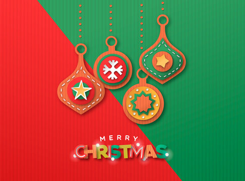 Merry Christmas paper cut bauble ornament card