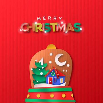Merry Christmas paper cut snow globe house cartoon