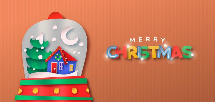 Merry christmas snow globe papercut cartoon banner