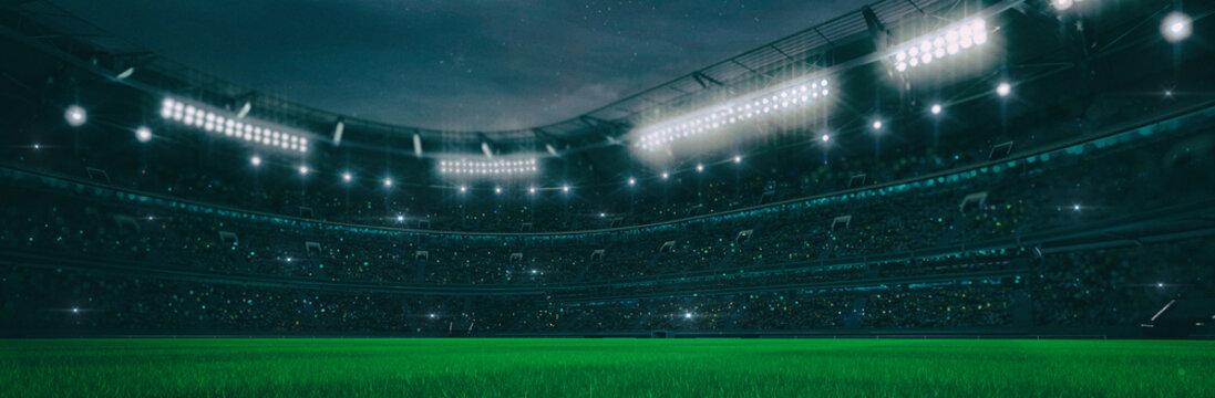 Sport stadium at night as wide backdrop. Digital 3D illustration for background advertisement.