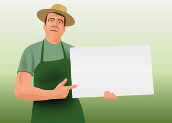 Dans un style graphique de bande dessinée, le jardinier présente une pancarte blanche pour écrire un message publicitaire ou un conseil.
