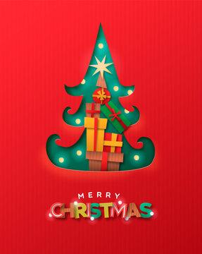 Merry Christmas papercut pine tree gift box card
