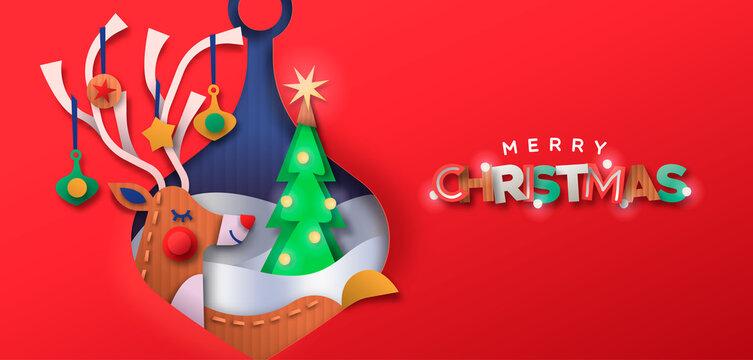 Merry christmas paper cut deer bauble ball banner