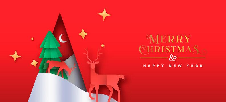 Christmas New Year paper cut pine tree deer banner