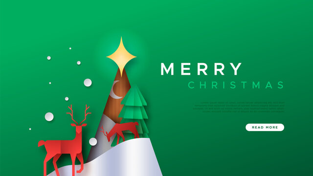 Merry Christmas paper cut deer forest web template