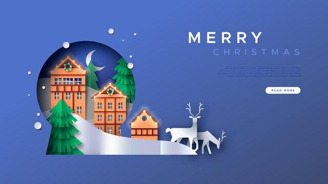Merry Christmas papercut winter town web template