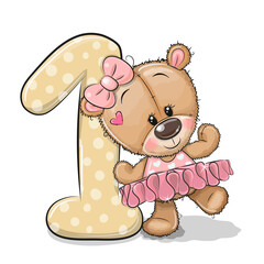 Cartoon Teddy Bear Girl and number one isolated on a white background
