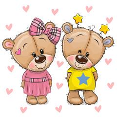 Cute Cartoon Teddy Bears on a hearts background