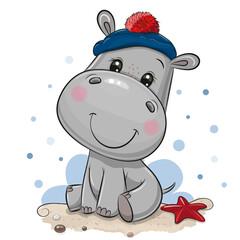Cartoon Hippo in sailor costume