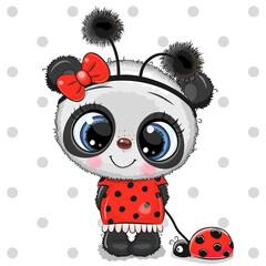 Cute Panda girl in a ladybug costume and ladybug