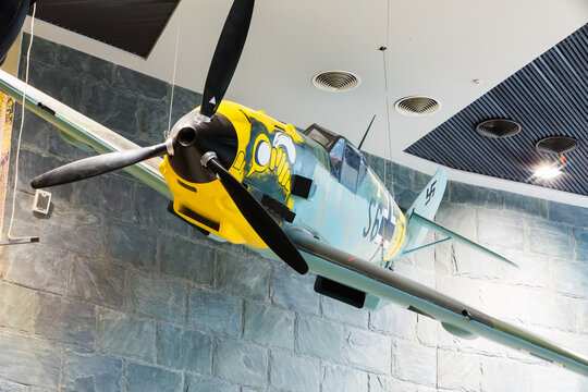 Fighter airplane Me-109 used by Germany in World War II In The Belarusian Museum Of The Great Patriotic War