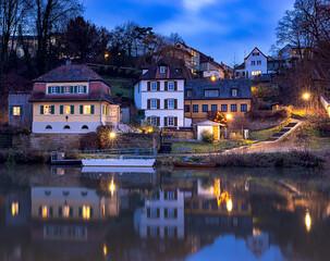 Bamberg. City embankment at sunset.