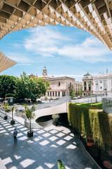 Metropol Parasol is a wooden structure located Plaza de la Encarnacion square, in old quarter of Seville, Spain.