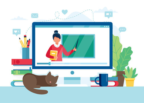 Online learning concept. Screen with female teacher and chalkboard, video lesson. illustration in flat style
