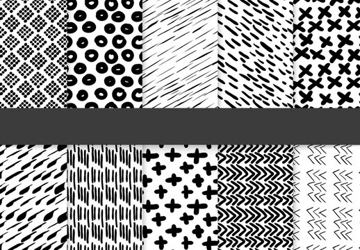 Black and White Hand Drawn Simple Geometric Seamless Pattern Collection