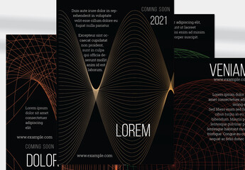 Flyer Layout with Net Shape Black Futuristic Red Globe