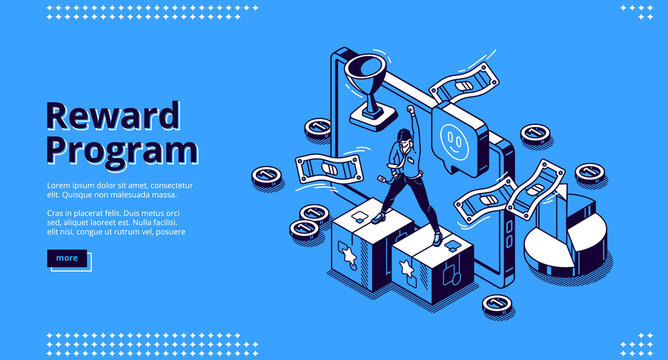 Reward program isometric landing page, loyalty cashback to customer, money back incentive commerce. Customer stand on pedestal at huge gadget with bills, coins and goblet 3d vector line art web banner
