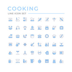 Cooking related set color line icons