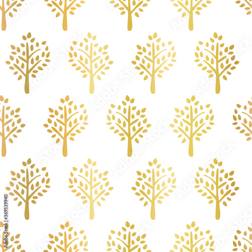 Gold Foil Trees Seamless Vector Pattern Tree Silhouettes Faux Golden Metallic On White Fall Background Use For Fabric Autumn Decor Thanksgiving Wall Mural Sandra Hutter
