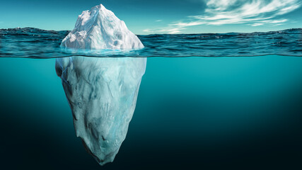 Photo sur Plexiglas Bleu vert Iceberg with its visible and underwater or submerged parts floating in the ocean. 3D rendering illustration.