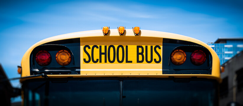 American school bus front vehicle closeup.